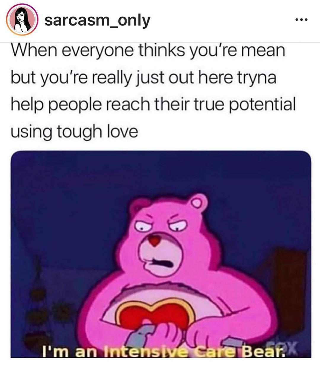 393 Likes 7 Comments Atlanta Ga Usa Moopoint11 On Instagram I M Just Misunderstood Tough On The Outside Sensit Tough Love Care Bear Dark Memes