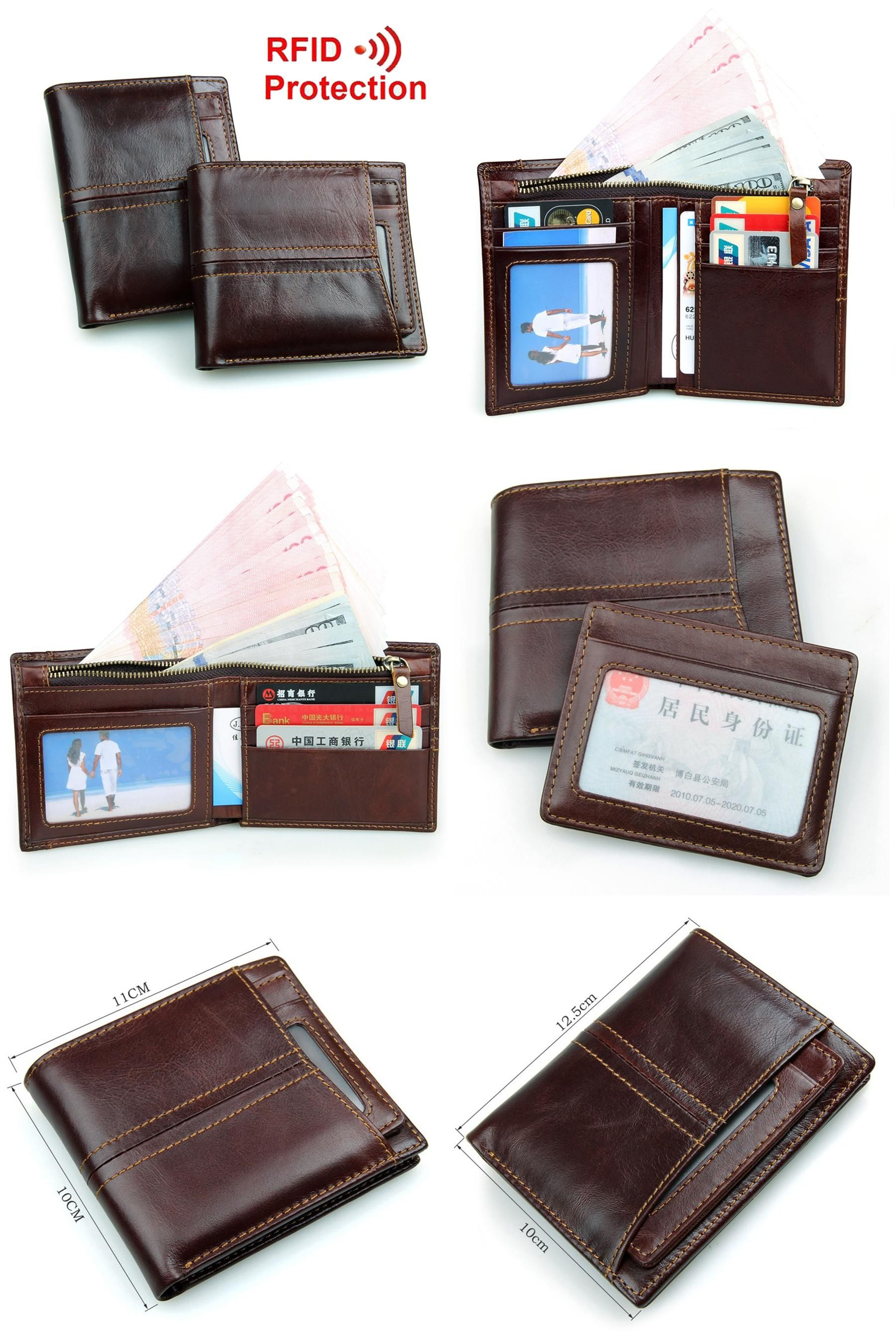 High Quality Leather Wallet with Detachable Travel Pass Holder