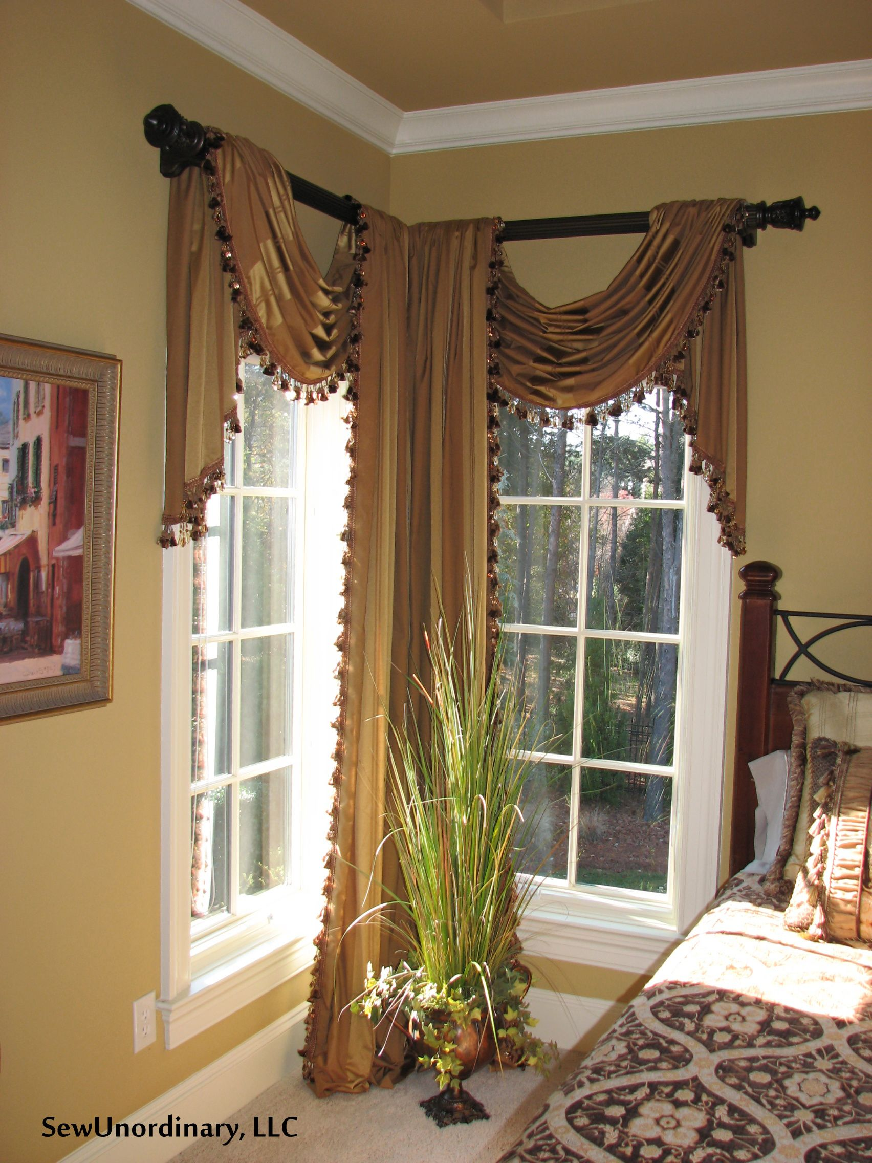 Swags And Panels In Corner Window Corner Window Treatments