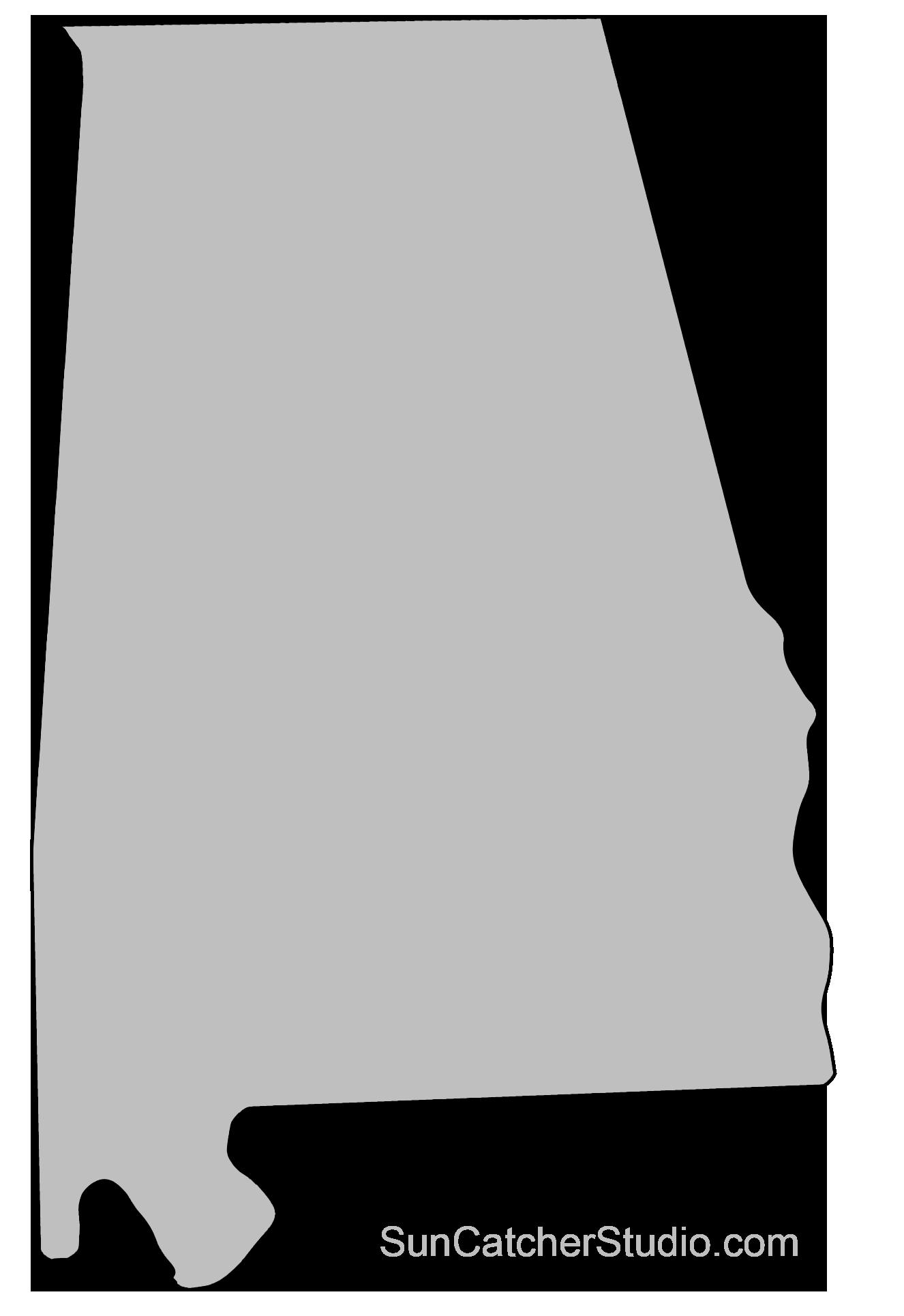 Alabama Map Outline Printable State Shape Stencil Pattern 50
