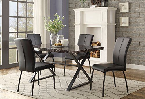 Faux Marble Metal Frame Dining Furniture In Black Table 4