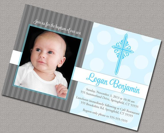 Printable Boys Christening Invitation Or Baptism Invitations