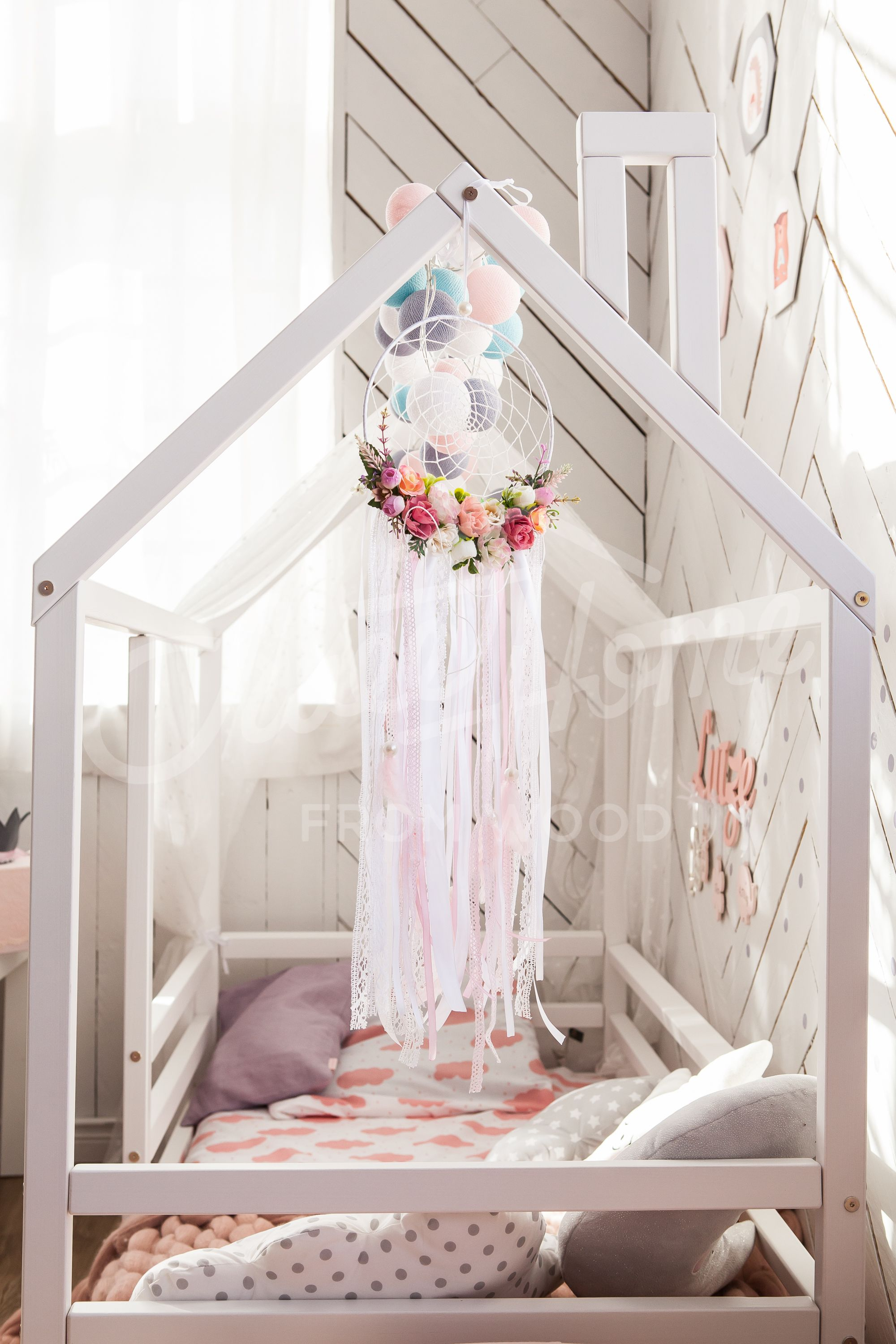 Wood Bed House Frame Bed Baby Bed Nursery Crib Kids Teepee