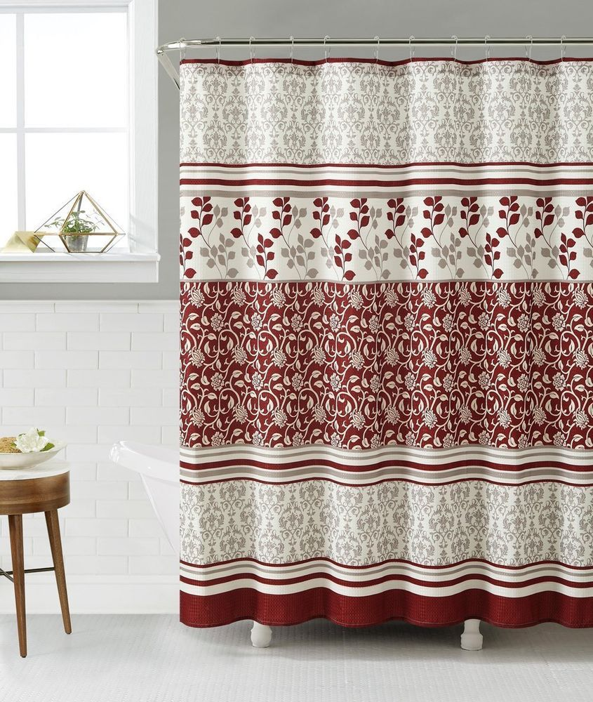 LYON Burgundy With Ivory Heavy Waffle Texture Fabric Shower Curtains 72x72