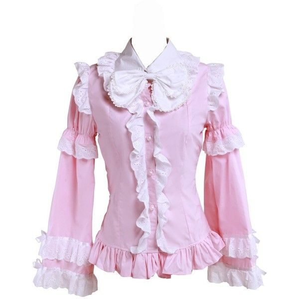 f569f835bb7ff4 Amazon.com: antaina Pink Cotton Ruffle Lace Bows Vintage Victorian... ($37)  ❤ liked on Polyvore featuring tops, blouses, pink lace shirt, ruffle blouse,  ...