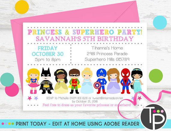 Princess Superhero Party Invitation Instant Download Princess Superhero Invitation Princess Superhero Party Printable Invitation Corjl Superhero Party Invitations Superhero Invitations Printable Invitations