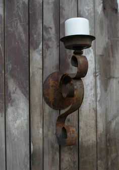 Rusty Metal Candle Sconce Primative Shabby Chic by upcyclesisters, $34.00