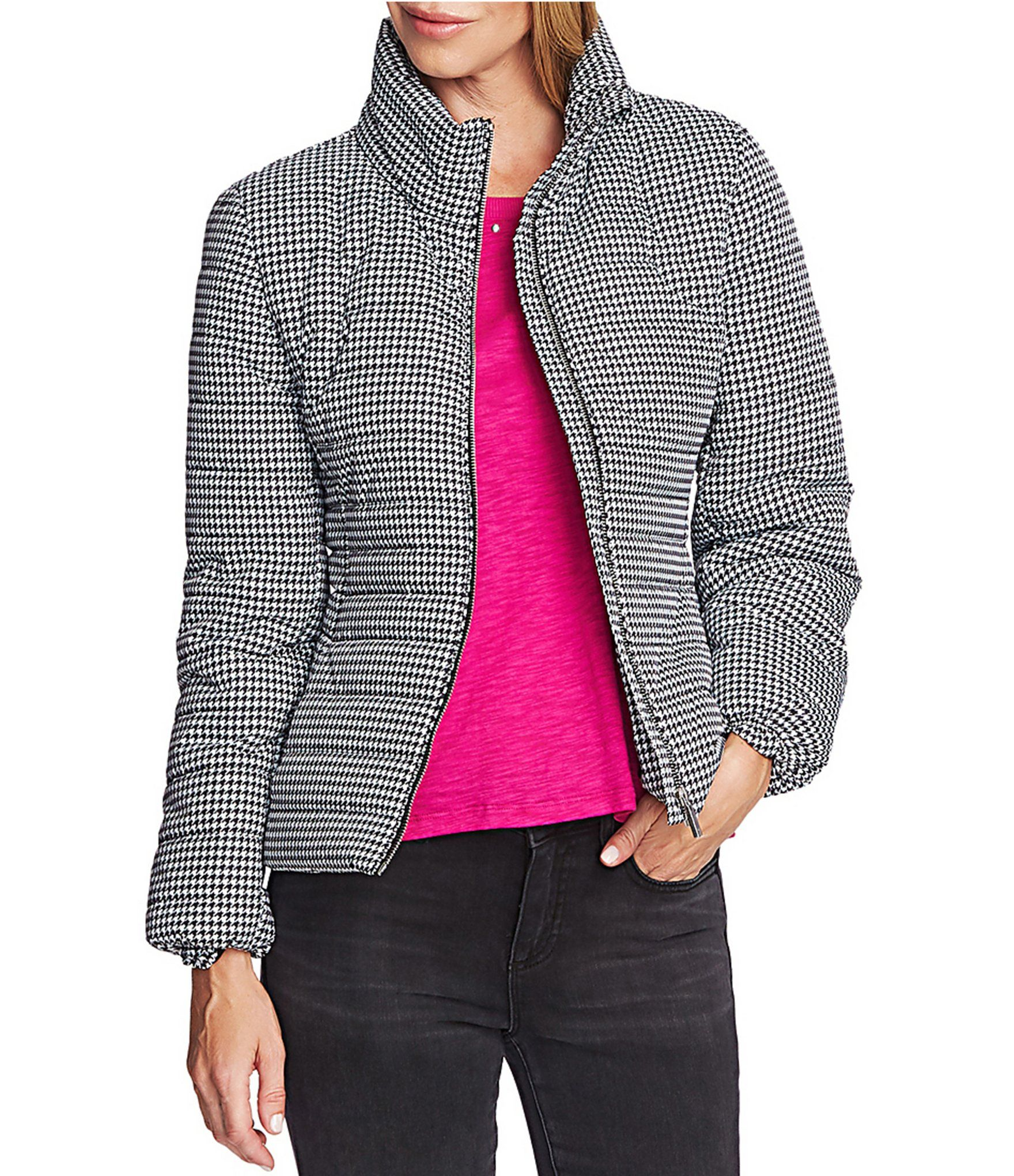 Vince Camuto Long Sleeve Houndstooth Puffer Jacket - Rich Black M 2