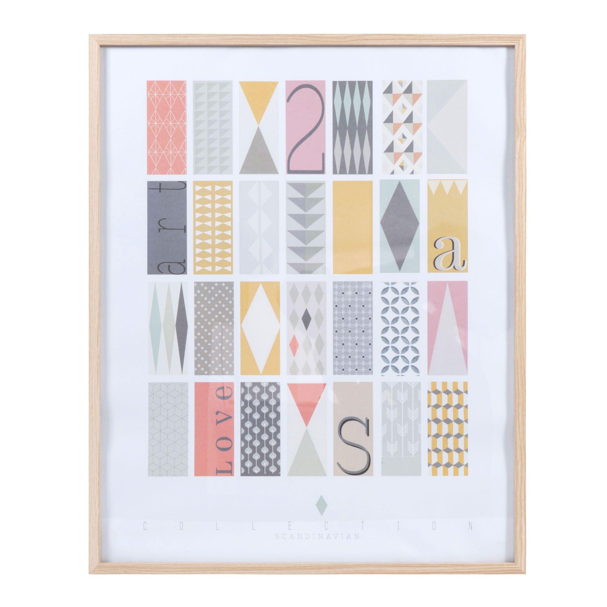 Tableau En Bois Multicolore 60 X 75 Cm Collection Scandinave