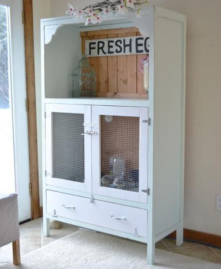 Chick Brooder!!! LOVE this antique-y cabinet...makes chicks seem ...