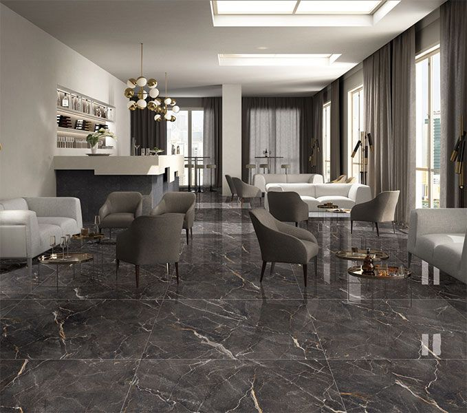 Kajaria Glazed Porcelain Tile Black Marble Costa Black That