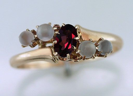 Vintage Antique 1/2ct Garnet & Moonstone 14K Yellow Gold Victorian Cocktail Ring #Cocktail