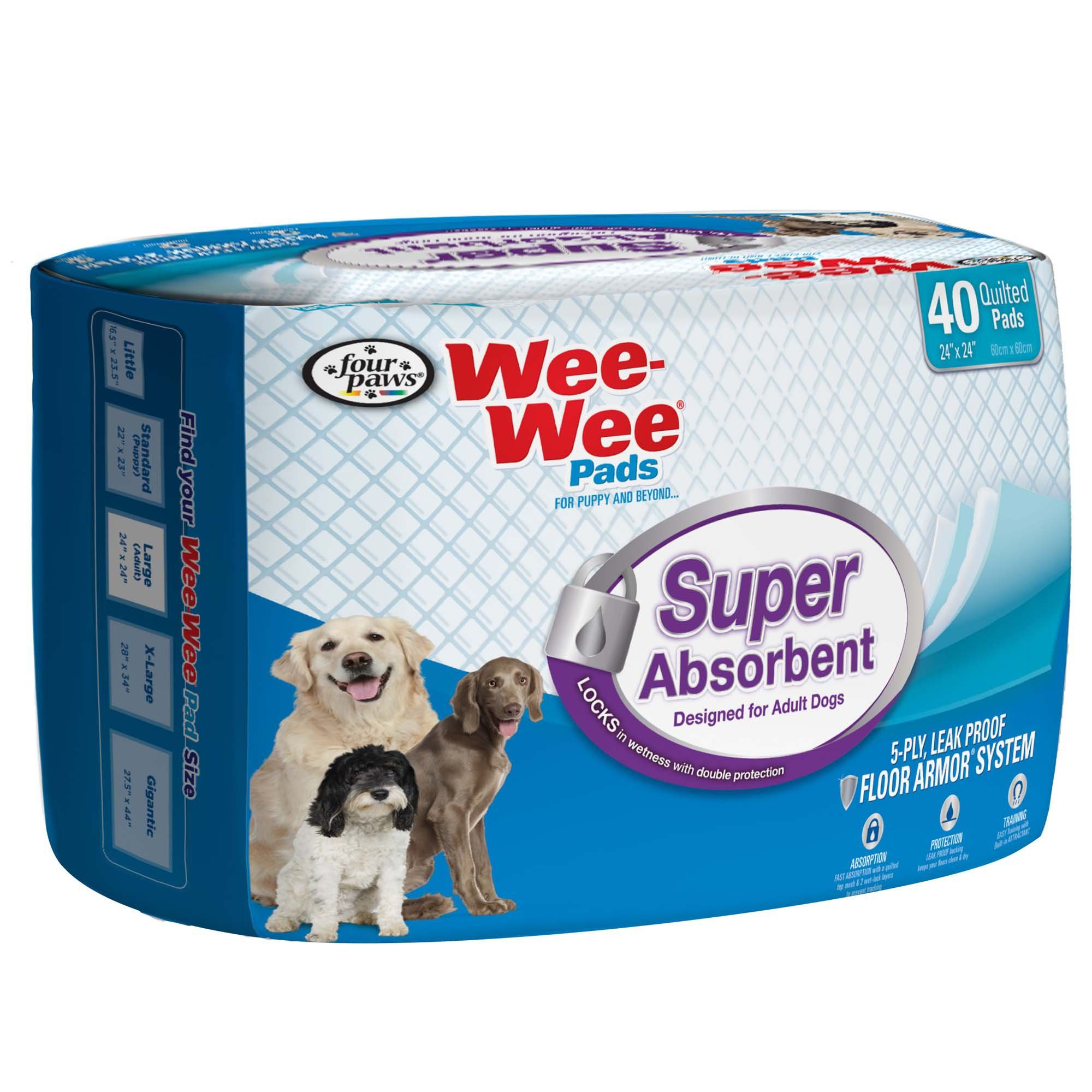 Wee Wee Super Absorbent Pack Of 40 Pads Dog Training Pads