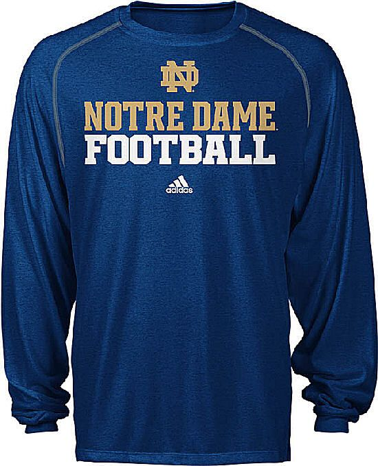 59c08dd6c Notre Dame Fighting Irish Adidas Heather Blue Long Sleeve Climalite  Football Shirt