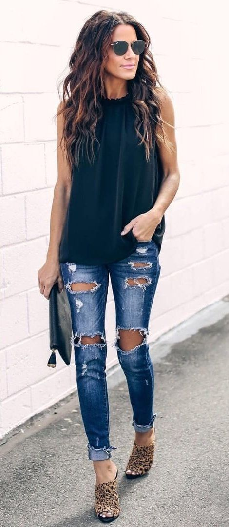 black sleeveless top and blue distressed jeans #spring