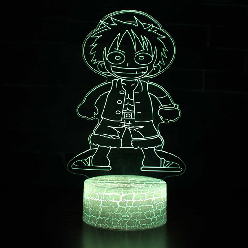 Novelty Lighting One Piece Anime 3d Illusion Led Lamp Luffy Zoro Model Night Lightskids Room Decoration Creative Christmas Gifts 3d Illusions 3d Illusion Lamp