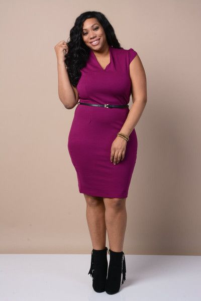 Plus Size Belted Career Dress - GoGetGlam  - 1