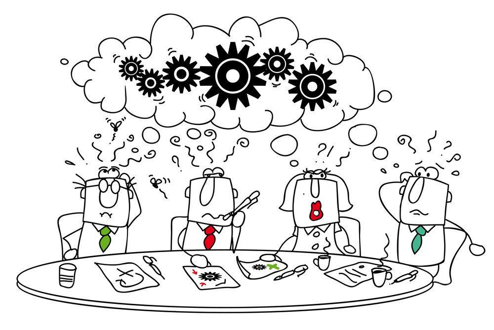 FBC4: Cartoon sketch of committee brainstorming meeting