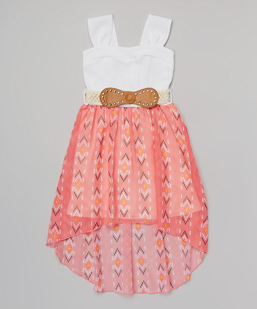 Take+a+look+at+the+Coral+Western+Belted+Dress+-+Girls+on+#zulily+today!