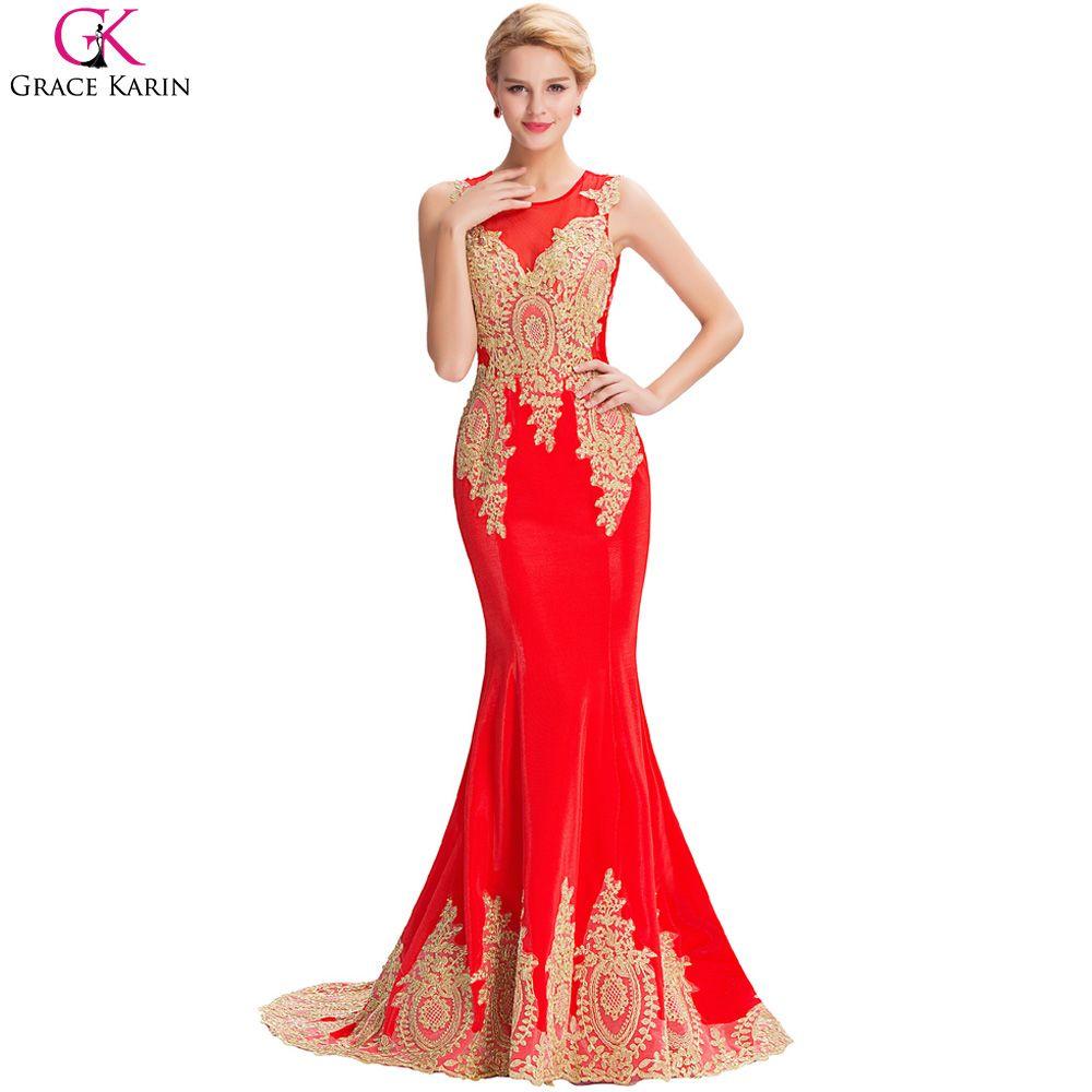 Lange Meerjungfrau Abendkleid Gnade Karin Weiß Schwarz Blau Rot Gold ...