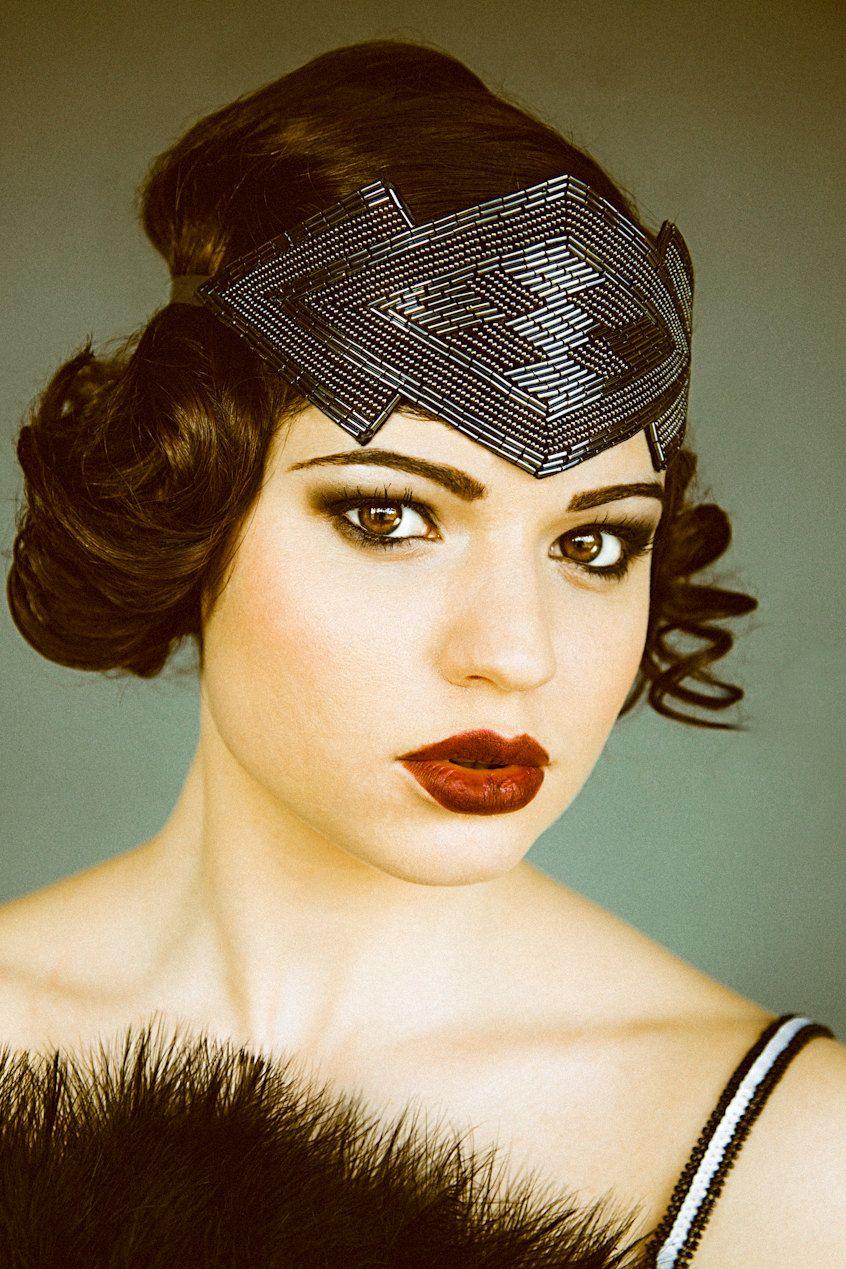 Great Gatsby Flapper Headband Beaded Art Deco Style modern