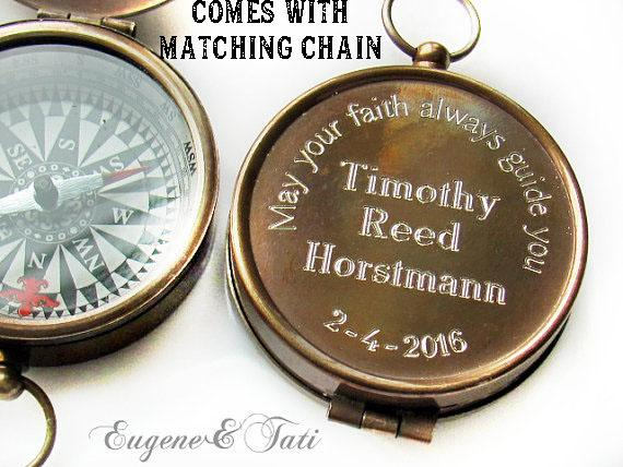 Engraved Compass Working Compass Custom Personalized Baptism Compass Boy Godparents Gift Confirmation Gift Confirmation Gift Boy