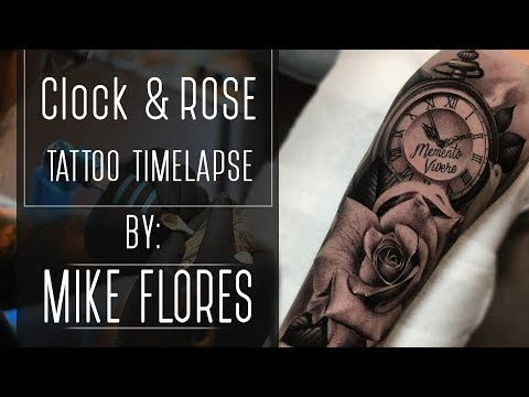 102e50078 Clock and Realistic Rose Tattoo Time-Lapse by Mike Flores - YouTube ...
