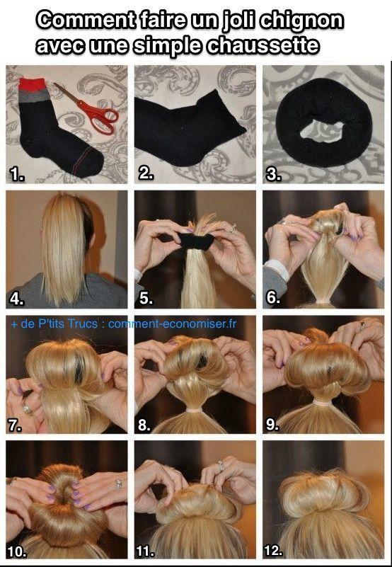 Comment Faire un Joli Chignon à Partir d'une Simple Chaussette.   Diy hairstyles, Long hair ...