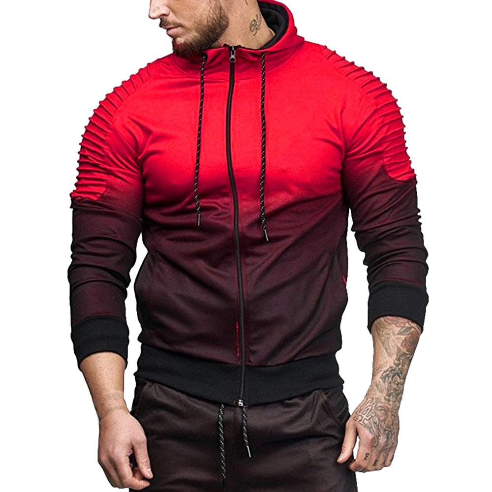 Styles and wear Men Autumn Winter Zipper Gradient Hooded Sweatshirt