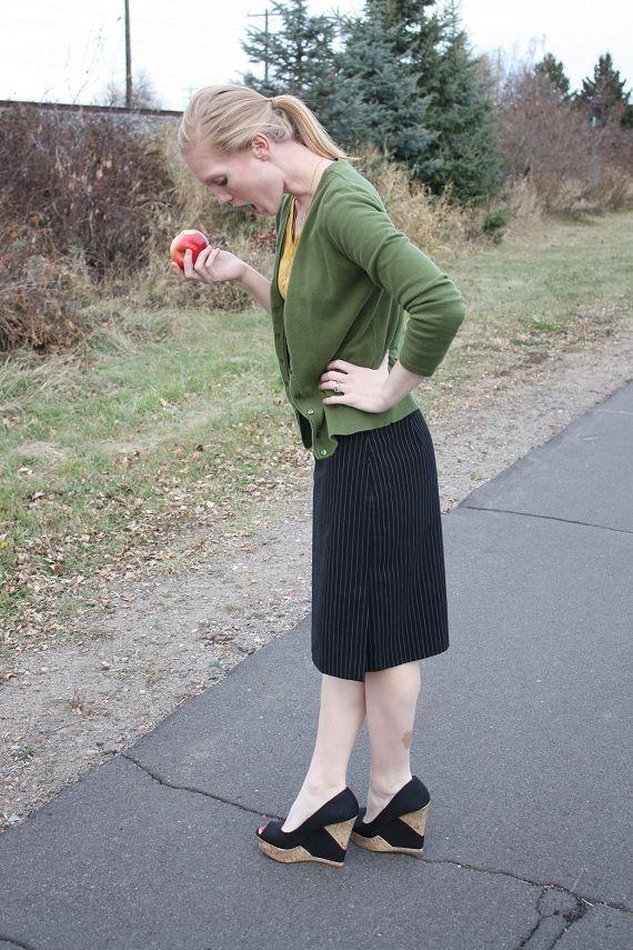 Mustard Tee + Pinstripe Skirt + Wedges