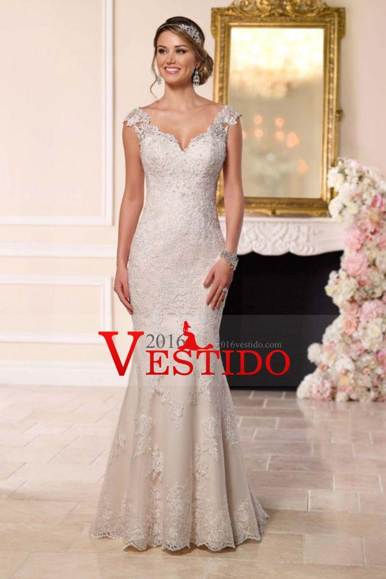 2016 Off Los vestidos de boda de la sirena del hombro Tulle con apliques Y Granos Corte Tren
