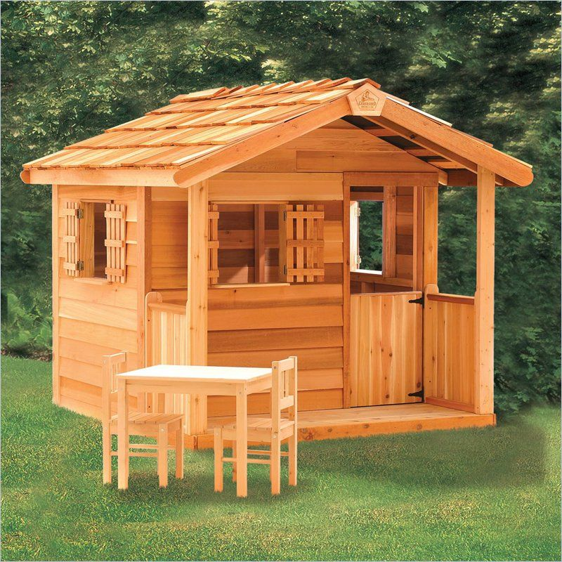 Playhouse outdoor toys playhouse s wooden garages for Wooden playhouse with garage