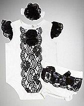 White & Black Lace Baby Bodysuit Diaper 3 Piece