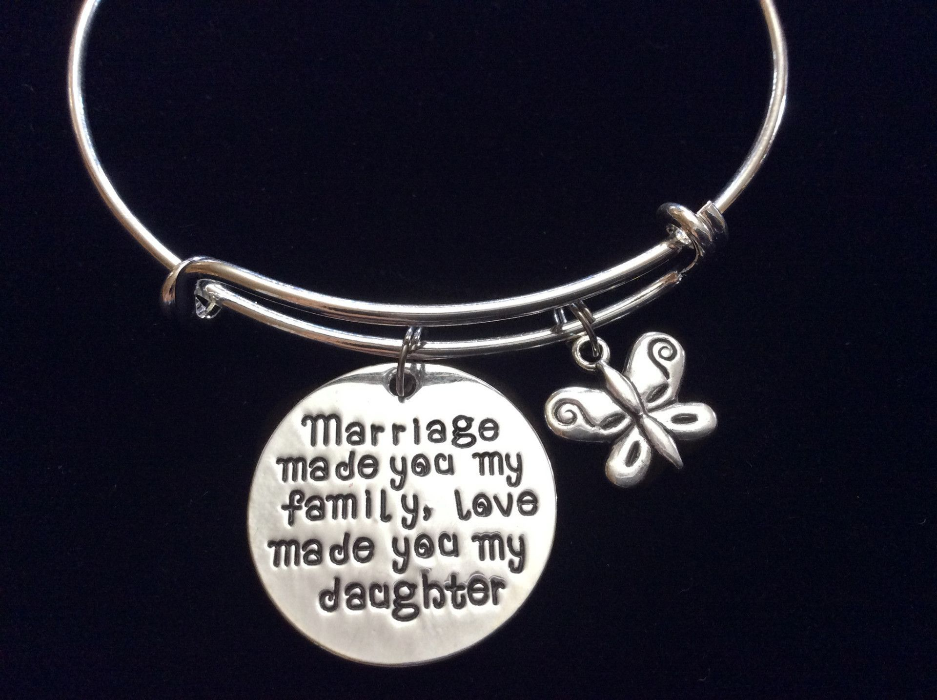 Marriage Made you My Family Love Made You My Daughter Silver Expandable Charm Bracelet Daughter In Law Adjustable Wire Bangle Gift