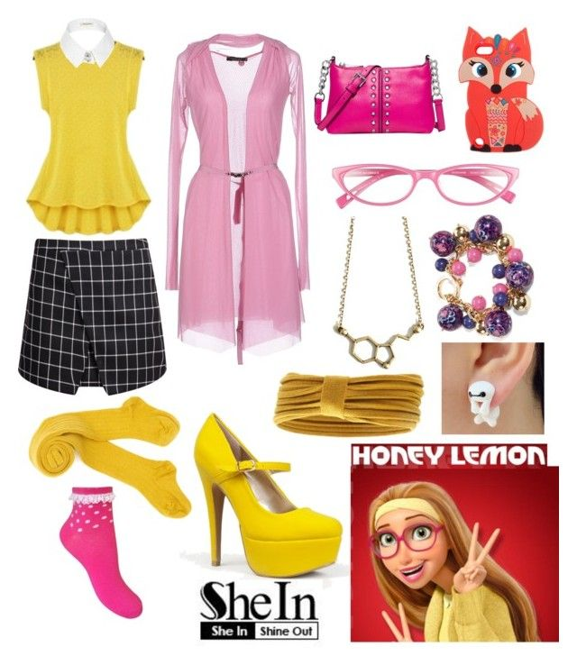 """""""Shein Black Plaid Bodycon Skirt contest Honey Lemon"""" by adella-mortimer ❤ liked on Polyvore featuring Twin-Set, River Island, Qupid, Michael Kors, Corinne McCormack, Vera Bradley and Forever 21"""