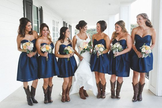 Bridesmaid Navy Blue Sweetheart Dresses With Cowboy Boots