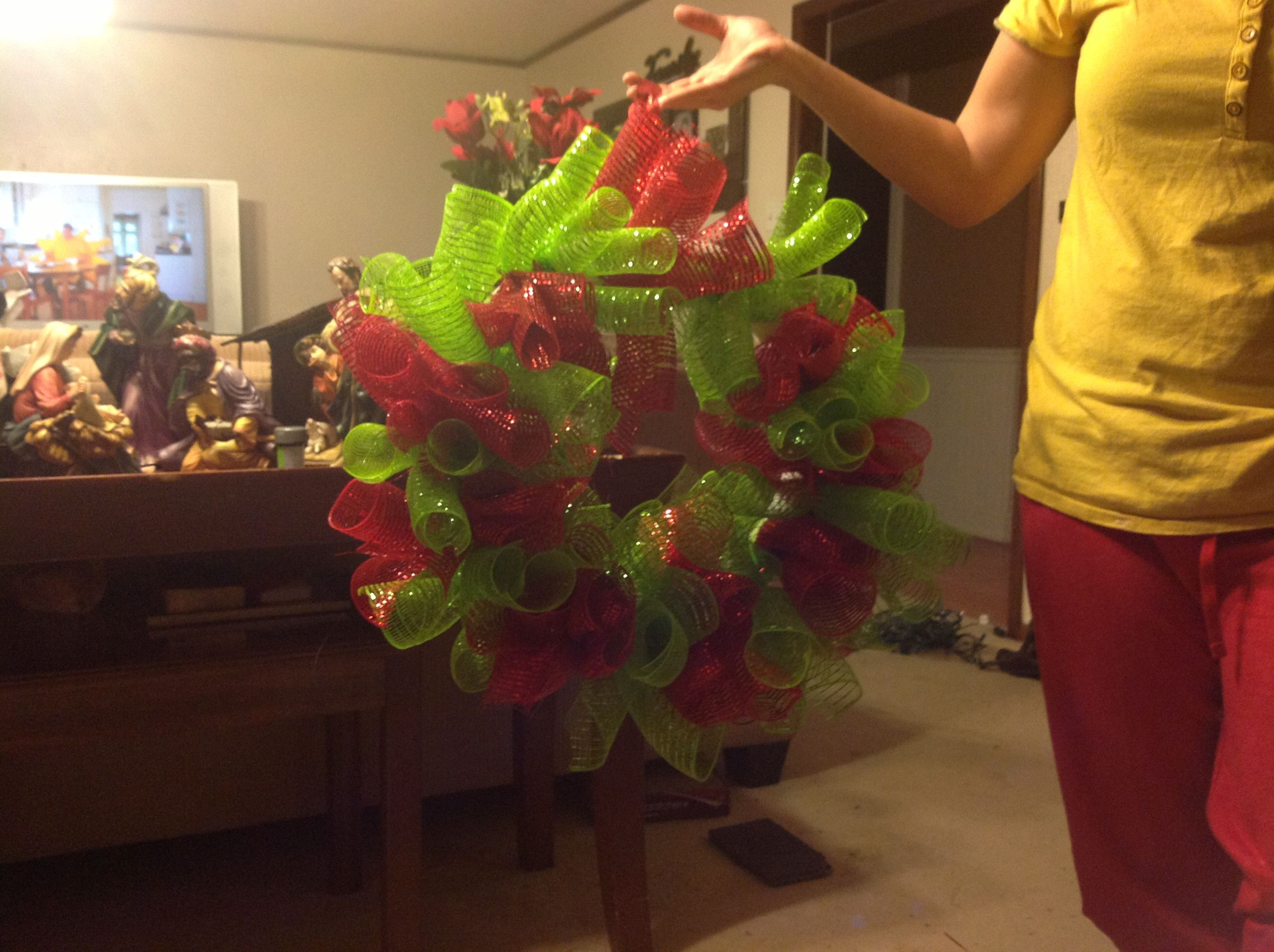Hannah made this wreath, halfway done! :D