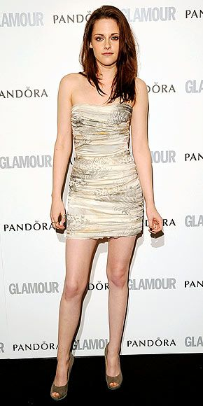 Kristen Stewart in ruched Balmain minidress--I love the subtle prints on the dress