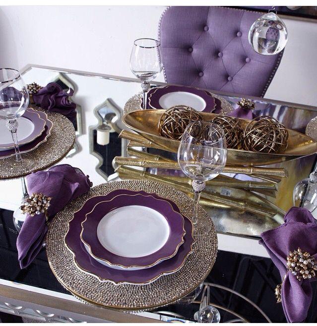 Purple Royalty Dining Room Table Decor Purple Dining Room