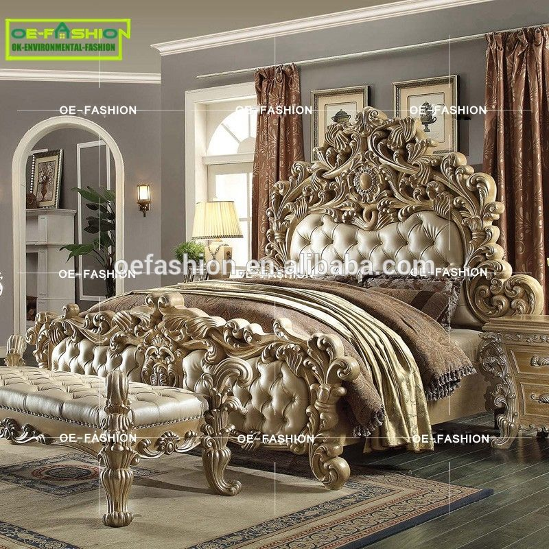 Oe Fashion Luxury Wood Carving Italian Leather Queen Bed Frame Furniture Made In China View Latest Soft Beds
