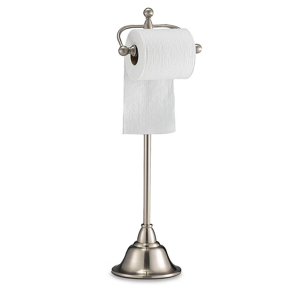 Deluxe Pedestal Satin Nickel Toilet Paper Stand Toilet Paper