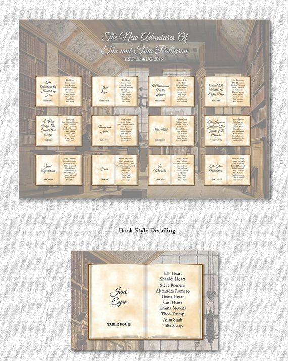 Vintage Wedding Seating Chart Book Theme Literary Table Plan Printable Geeky Uk
