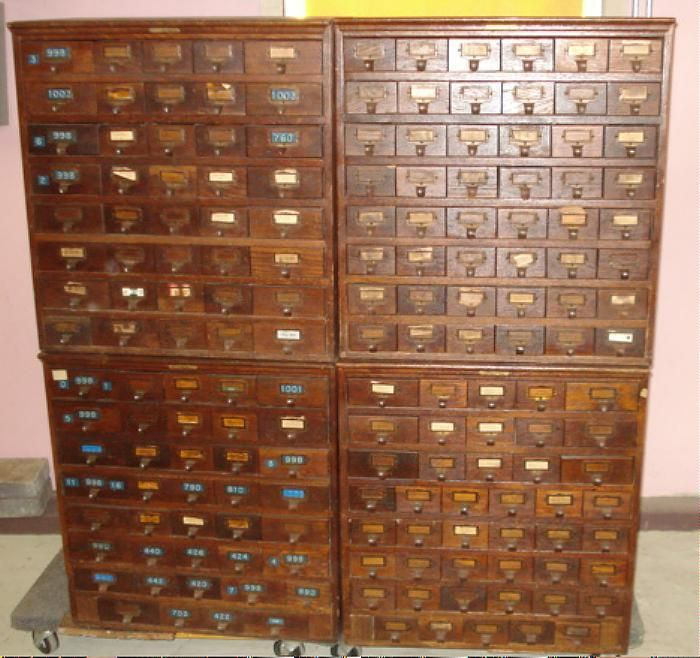 Index Card File Cabinet ANTIQUE JD WARREN Mfg Chicago 172 ...