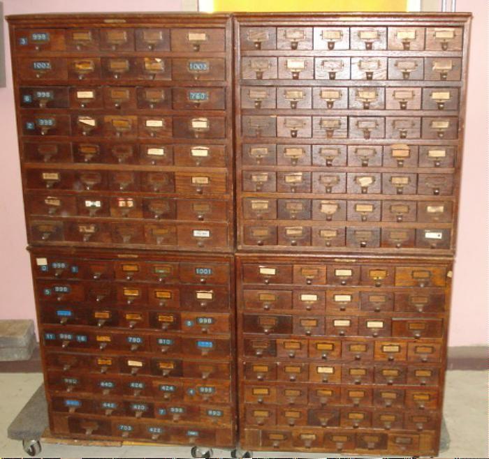 Index Card File Cabinet ANTIQUE JD WARREN Mfg Chicago 172 Catalog Drawers  OAK - Index Card File Cabinet ANTIQUE JD WARREN Mfg Chicago 40+ Catalog