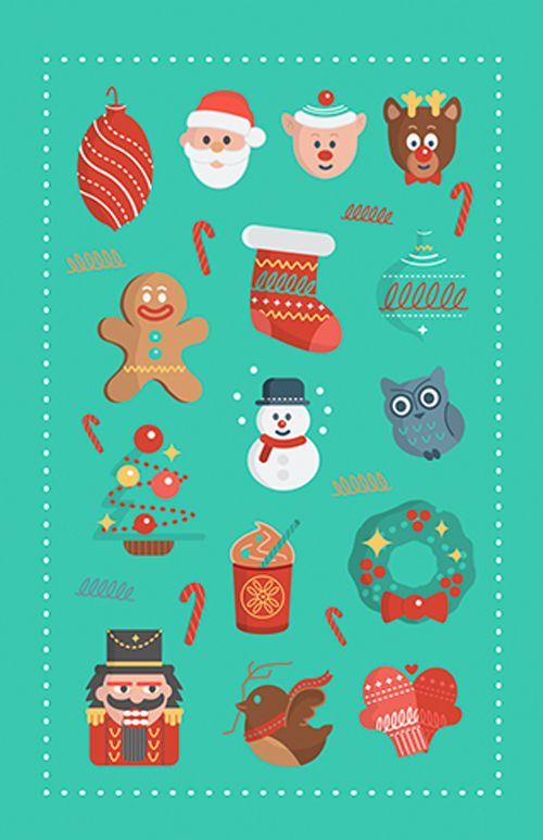 Flat Holiday Icons #Chrsitmas #vectorgraphcis #vector #icons #backgrounds