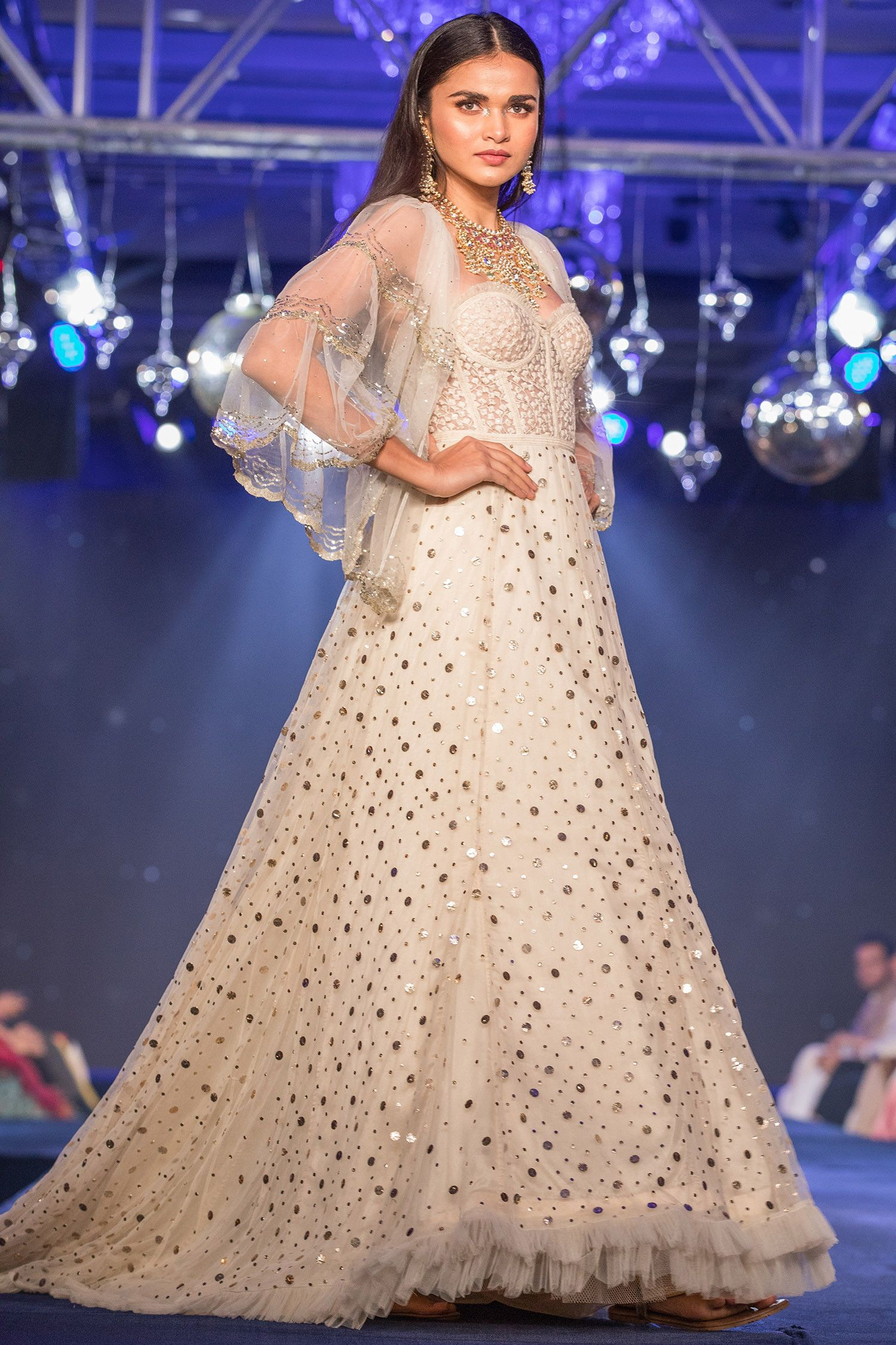 Buy Sequin Scallop Embroidered Gown With Cape By House Of Kotwara At Aza Fashions Embroidered Gown Gowns Cape Gown
