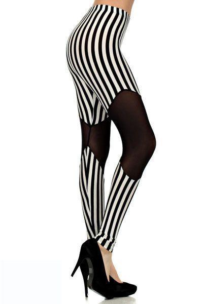 Spring Mesh Striped Leggings