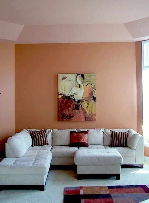Pin By Jackie Mason On Home Decor Inspiration Brown Walls Living Room Coral Living Rooms Peach Living Rooms #peach #living #room #walls
