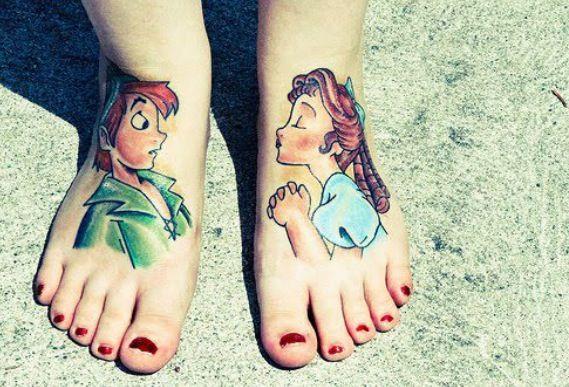 Peter Pan And Wendy Foot Tattoo Cool Tattoos Peter Pan Tattoo Disney Tattoos