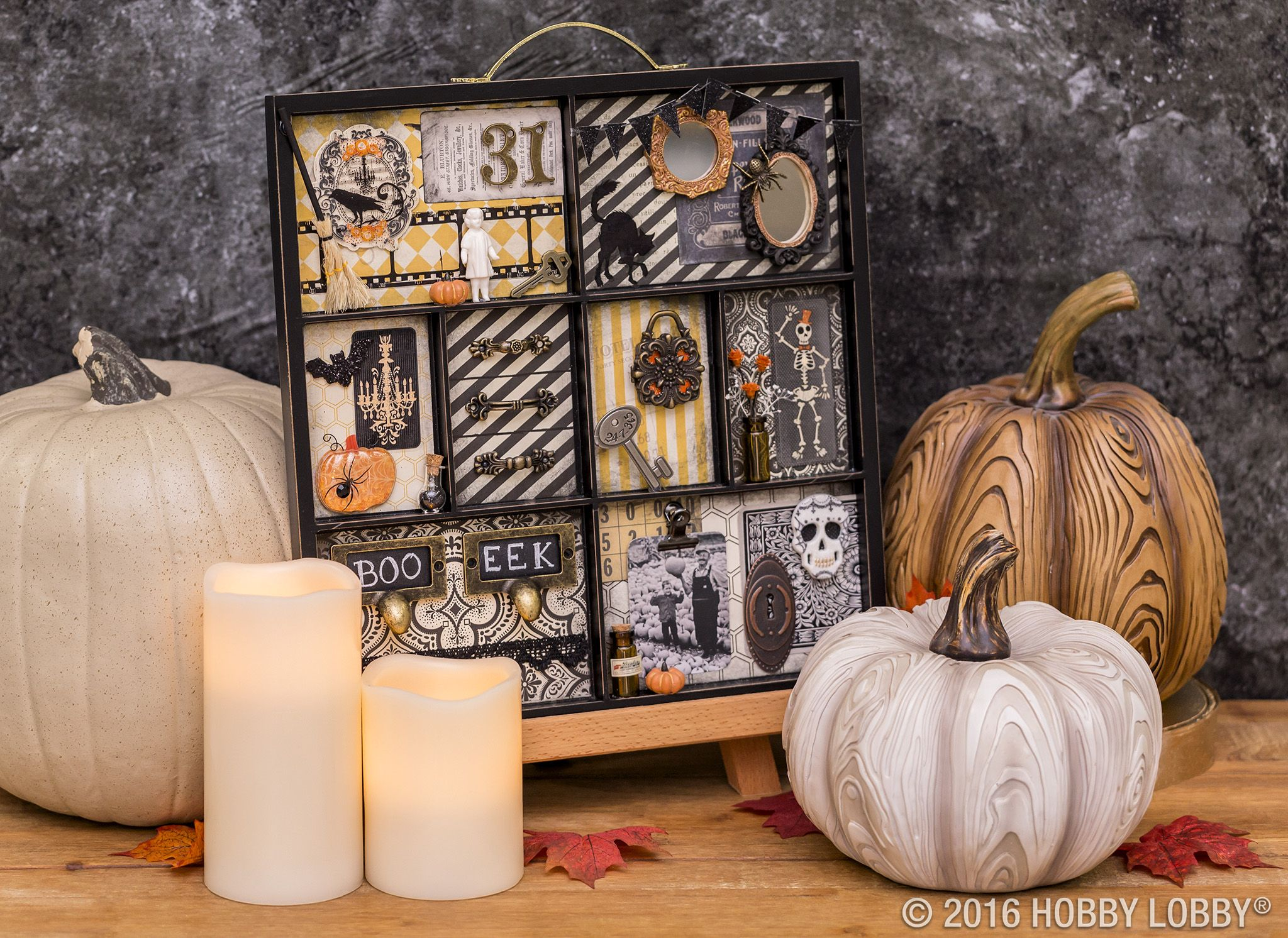 Create a monster mash-up Halloween tray by gluing quirky figurines